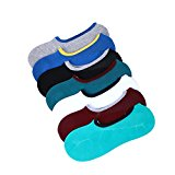 7 Pairs No-Show Socks with Silicone Anti-Slip Heel Grip - Men's Law Cut Hidden Cotton Liner Socks