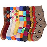 6 Pairs Mens Patterned Colorful Variety Style Fashion Cotton Casual Dress Socks