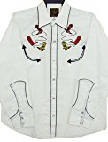 Modestone Men's Embroidered Long Sleeve Shirt Cowboy Boots Lassos White