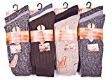 12pairs Mens Big Foot Winter Warm Chunky Wool Outdoor Thermal Wool Boot Hike Socks UK Shoe Size 11-14