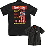 Velocitee Speed Shop Mens Mechanic Garage Work Shirt Full Service Petrol Pump Pin Up W17679