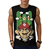 Angry Mario Nunchuk Super Bros Men NEW Black White Grey Red Navy S-2XL Sleeveless T-shirt | Wellcoda