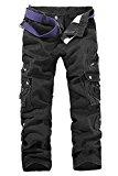 Menschwear Men's Multi Pockets Cargo Trousers Military Style with belt