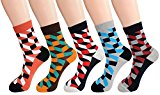 FULIER Men Fashion Cotton Rich Argyle Design Funky Dress Crew Socks 5 Pairs UK 6-11