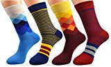 FULIER 4 Pairs Men Fashion Funky Colour Argyle Stripe Designer Rich Cotton Dress Socks,Breathable,Comfortable,UK 6-11