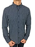 Superdry Mens New England Dress Shirt in Window Pane Blue