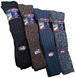 6 Pairs Mens Long Length Chunky 20% Wool Blend Boot Hiking Walking Socks / UK Size 6-11 Eur 39-45