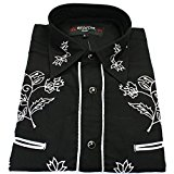 Relco Black Cowboy Western Style White Embroidered Polycotton Shirt