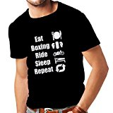 T shirts for men Eat Boxing Ride Sleep Repeat - for fighters and riders motivational sports quotes