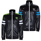 Adidas Mens Chile 62 Poly Tracktop Training Jacket G90072 Wet Look Style Black/Electric Yellow XS,S,M,L,XL