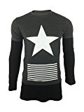 King Couture Big Star Overlay Mens T-Shirt in Charcoal