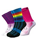 WackySox Wackysox Three Pairs Supersaver Pink Rainbow Calf Sports Socks