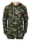 King Kouture Mens Camo Badges Hoodie in Khaki Camouflage