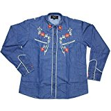 Relco Denim Blue Cowboy Western Style Three Colour Embroidered Polycotton Shirt