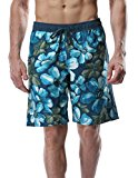Attraco Men's Floral Printed Swim Shorts Quick Drying Swimming Board Shorts Beach Swimwear