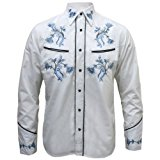Mens White Cowboy Rockabilly Line Dancing Western Flower Shirt S - XXL