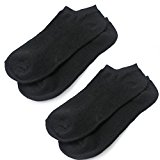 2 Pairs Black Cotton Low Cut No Show Invisible Ankle Boat Loafer Socks