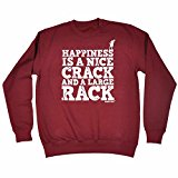 123t Adrenaline Addict Men's Women's HAPPINESS IS A NICE CRACK AND A LARGE RACK - SWEATSHIRT