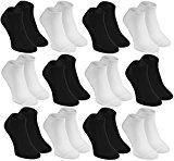6, 9 or 12 pairs of Ankle, Sneaker, Bamboo Socks for Men and Women in black and white Comfortable and Super Soft, Made in  UE, Size UK 4-11 by Rainbow Socks