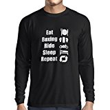 Long sleeve t shirt men Eat Boxing Ride Sleep Repeat - for fighters and riders motivational sports quotes