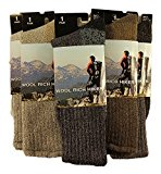 Sockstack® 3 Pairs Of Men's Wool Hike Trekking Socks, Thick Chunky Walking Work Boot Socks