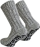 Tobeni 3 pairs of socks with ABS stopper Norwegian sheep wool for men and women, Color:Multicolored;Size:UK 12-15 / EU 47-50
