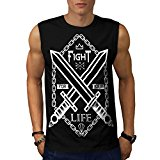 Fight For Your Life Sword Brawl Men NEW Black White Grey Red Navy S-2XL Sleeveless T-shirt | Wellcoda