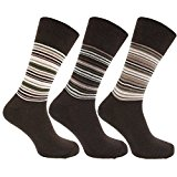 Mens Striped Cotton Rich Non Elastic Light Hold Socks With Terry Cushioning (Pack Of 3)