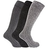 Mens Knee High Chunky Thermal Wool Boot Socks (Pack Of 3)