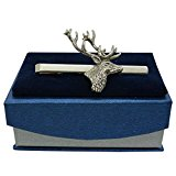 Stag's Head Pewter Tie Clip or Slide, Handcast in England