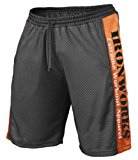 Black/Orange Mesh Bodybuilding Shorts Workout Gym Clothing C-22