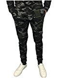 King Kouture Mens Camo Badges Slim Fit Joggers in Black Camouflage